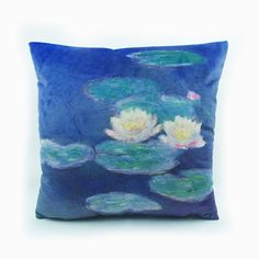Monet Garden Digital Print Claude Monet Impressionist Water Lilies Velvet High End Cushion Cover Pillow Case Throw