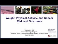 Weight, Exercise and Cancer Risk  Nancy Lin, MD, a breast oncologist in the Susan F. Smith Center for Women's Cancers at Dana-Farber, shares new data and research studies linking a healthy lifestyle to better treatment outcomes.