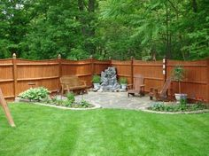 Best Outdoor Patio Decorating Ideas On A Budget Patio Ideas On A Budget My Backyard Patio Project Patios Deck - Wonderful outdoor patio suggestions make fo No Grass Backyard, Small Backyard Landscaping, Fenced In Backyard Ideas, Rustic Backyard, Corner Landscaping Ideas, Corner Patio Ideas, Large Backyard, Landscaping Design, Small Patio