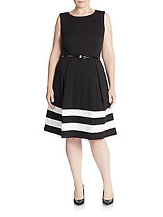 Calvin Klein, Plus Size - Striped Fit-And-Flare Dress