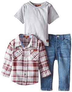 Straight leg jeans with signature squiggle back pockets Antique brass hardware Flannel shirt has contrasting chambray details 7 for all mankind Baby Boys Flannel Shirt Slub J-Shirt and Denim Jeans
