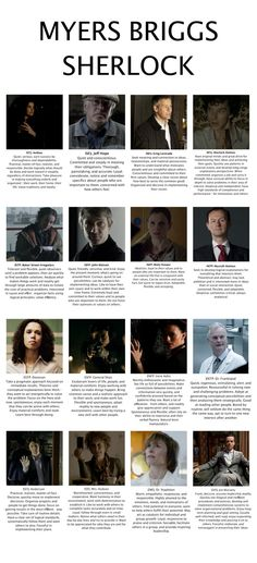 Sherlock MBTI types, allegedly. There weren't that many characters, so this must have been a bit of a challenge!