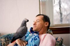 """SADIE (the parrot) talks Jim down when he's about  to have a psychotic episode. When Sadie senses Jim starting to get agitated, she starts talking: """"That's ok, Jim. You're alright, Jim. I'm right here, Jim."""" And it works!! AMAZING!!"""