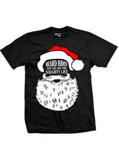 "Men's ""Beard Rides"" Tee by Cartel Ink (Black) #inkedshop #beardrides #santa #holiday"