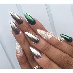 Chrome Nails By Margaritasnailz Almond Green Nail Design Art Glitter Chorme