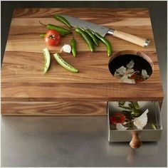 Love this chopping board with bin inset.