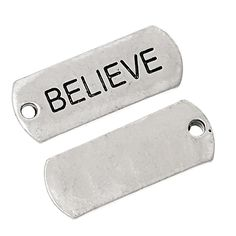 "30 Count Antique Silver Believe Word Charm Rectangle Pendants 7/8"" x 3/8"""
