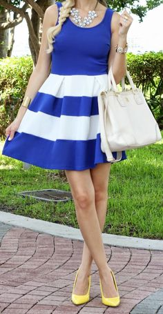 Nordstrom Blue Summer Sleeveless White Stripe Skater Dress by A spoonful of Style