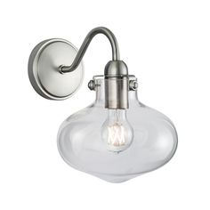 Norwell Lighting Clara Single Sconce 8261-BN-CL  #sconce #bathroomlighting #roundbackplate #glassdiffuser