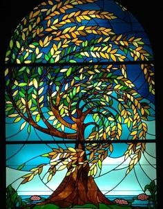 Gorgeous stained glass at Val du Charron Wine farm  Guest House, Wellington, Western Cape RSA ~ The Olive Tree Stained Glass Window in the Chapel.