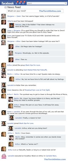 "Merlin, ""Lancelot and Guinevere"" on Facebook. I died laughing - and there is one for each episode ;-)"