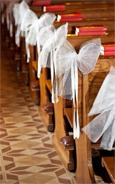 Church Pews- could do in the wedding theme colors and alternate the colors