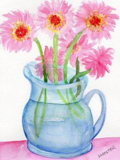 Light Pink Gerbera Daisies painting, Gerber Daisies in Glass Pitcher, Original Watercolor Gerber Daisy ART- 5 x 7 $22