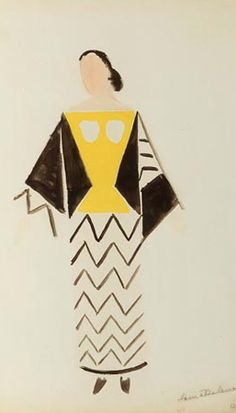 "Costume design forJacqueline Chaumont in the ""Le coeur & Gaz"" by Tristan Tzara (1923)."