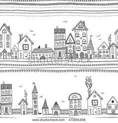 City street. Houses vector seamless pattern.