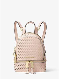 4395a6f32067 Michael Kors Rhea Mini Perforated Leather Backpack Mini Backpack, Mini Bag,  Backpack Bags,