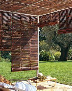 Image result for wooden roller blind on pergola
