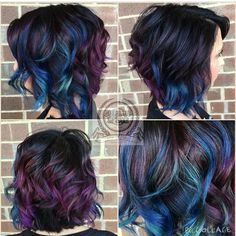 Purple blue and teal