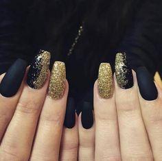 Black matte and gold glitter