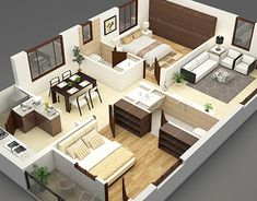 2 Bedroom House Design, House Floor Design, Small House Interior Design, Sims House Design, Bedroom House Plans, 2bhk House Plan, Sims House Plans, Model House Plan, House Floor Plans