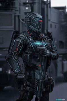 Futuristic Soldier 3 by Stefan Celic on ArtStation Mode Cyberpunk, Cyberpunk 2077, Futuristic Armour, Futuristic Art, Robot Concept Art, Armor Concept, Robot Militar, Vexx Art, Tactical Armor