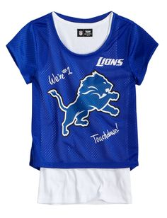 Girls Clothing | NFL® | Lions Mesh Crop Over Long | Shop Justice