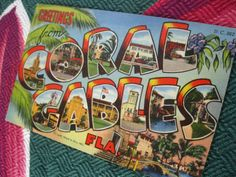 Vintage Coral Gables Florida postcard - Greetings from Coral Gables  - 1940s linen