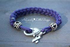 Purple Braided Paracord Bracelet with by ALoverlyLittleShoppe