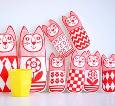 Red Screen Printed Scandinavian Toy Kit To Make 6 x Cats by Jane Foster plush toys Monochrome