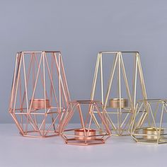 Description: Nordic Light Candle Holder Golden Wrought Iron Candlestick Rose Gold European Romantic Candle Cup Decoration Item Specifics: Material:Iron Processing :PlatingColor:Gold/Rose GoldStyle:Nordic For Candles Less Than in DiameterFea Cheap Candle Holders, Candle Holder Decor, Candle Holders Wedding, Tealight Candle Holders, Nordic Lights, Geometric Candle Holder, Geometric Lamp, Geometric Shapes, Gold Home Decor