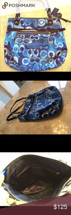 Coach Blue Poppy Denim Tote Authentic Coach blue Poppy Denim tote! In great condition! Small orange marking on back exterior of bag (pictured above in pic 4) Coach Bags Totes