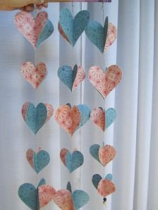 how to make paper heart strings, DIY wedding decor,