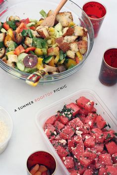 panzella with summer vegetables and watermelon salad with feta