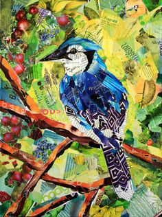 This colorful blue jay paper collage by Baye Hunter is included in a feature about her art. Magazine Collage, Magazine Art, Paper Collage Art, Paper Art, Painting Collage, Painting Abstract, Acrylic Paintings, Bird Quilt, Ecole Art