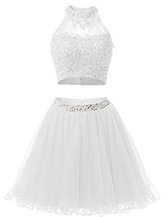5ea56c36ff EverLove Short Applique Prom Gowns Beaded Two Pieces Homecoming Dresses  EL0044 4 White -- BEST