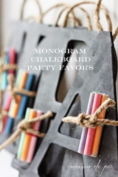 Monogram Chalkboard Party Favors from Maison de Pax Read All About It