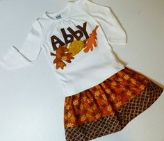 2 piece outfit Girl, toddler, baby shirt fun fall autumn leaves and personalized name applique, brown, orange, gold skirt in sizes NB - 16