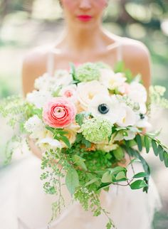 super gorgeous pale bouquet with bright pink accent flowers. see more of the darling photography from Ashley Kelemen here. http://www.weddingchicks.com/vendor-guide/ashley-kelemen-photography/