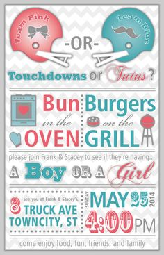 PRINTABLE Invitation: Gender Reveal Baby BBQ by PawprintStudio Invitation Maker, Printable Invitation Templates, Digital Invitations, Gender Reveal Invitations, Baby Shower Invitations, Baby Shower Shirts, Mickey Mouse Baby Shower, Thanksgiving Invitation