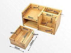 Organizador de Papelería para Escritorio Bambú 4 Compartimentos, (Organizadores y Dispensadores de Escritorio de Madera): Amazon.es: Oficina y papelería