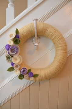 Yarn Wreath OATMEAL Yarn Covered Straw by GoshYarnItWreaths                                                                                                                                                                                 Mais