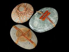 """By Del Webber """"knotting techniques from traditional Japanese and Native American basketry, wicker furniture, loom weaving, fly-tying, and nautical knotting. Each stone is selected and wrapped with a. Stone Crafts, Rock Crafts, Arts And Crafts, Art Pierre, Stone Wrapping, Loom Weaving, Weaving Art, Nature Crafts, Weaving Techniques"""