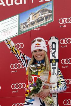 Lindsey Vonn of the USA takes 1st place during the Audi FIS Alpine Ski World Cup Women's SuperG. (Getty) Add Around The Rings on www.Twitter.com/AroundTheRings & www.Facebook.com/AroundTheRings for the latest info on the Olympics.