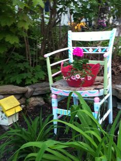 I painted this  chair I found at the dump...