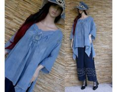 Gigi - Bohemian Hand Dyed Linen Tunic with Net Lagenlook Plus Size Blouse OOAK