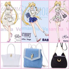 """Sailor Moon x Samantha Vega Purses also featuring clothing fashions by Honey Bunch, Secret Honey and Riccimie, as seen Usagi wearing in the illustrations…"""