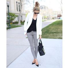 emilyijackson: Effortless and sexy. Combining a cool cargo skinny with a gender-bending blazer, dark glasses, and a pointed-toe pump makes the separates sizzle. The uncomplicated knotted hair keeps things casual.