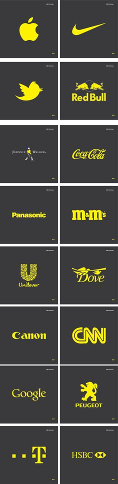 Famous Logos In CMYK Yellow by Määr Dominique, via Behance
