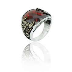 925K Sterling Silver Scorpion Red Stone by hiddenlandtreasures