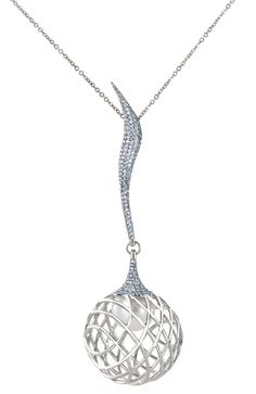 Pendant from Lara Bohinc's Palladium fine jewellery collection. The pendant features pave-set diamonds that wave down to an orb cage, encasing a South Sea pearl.